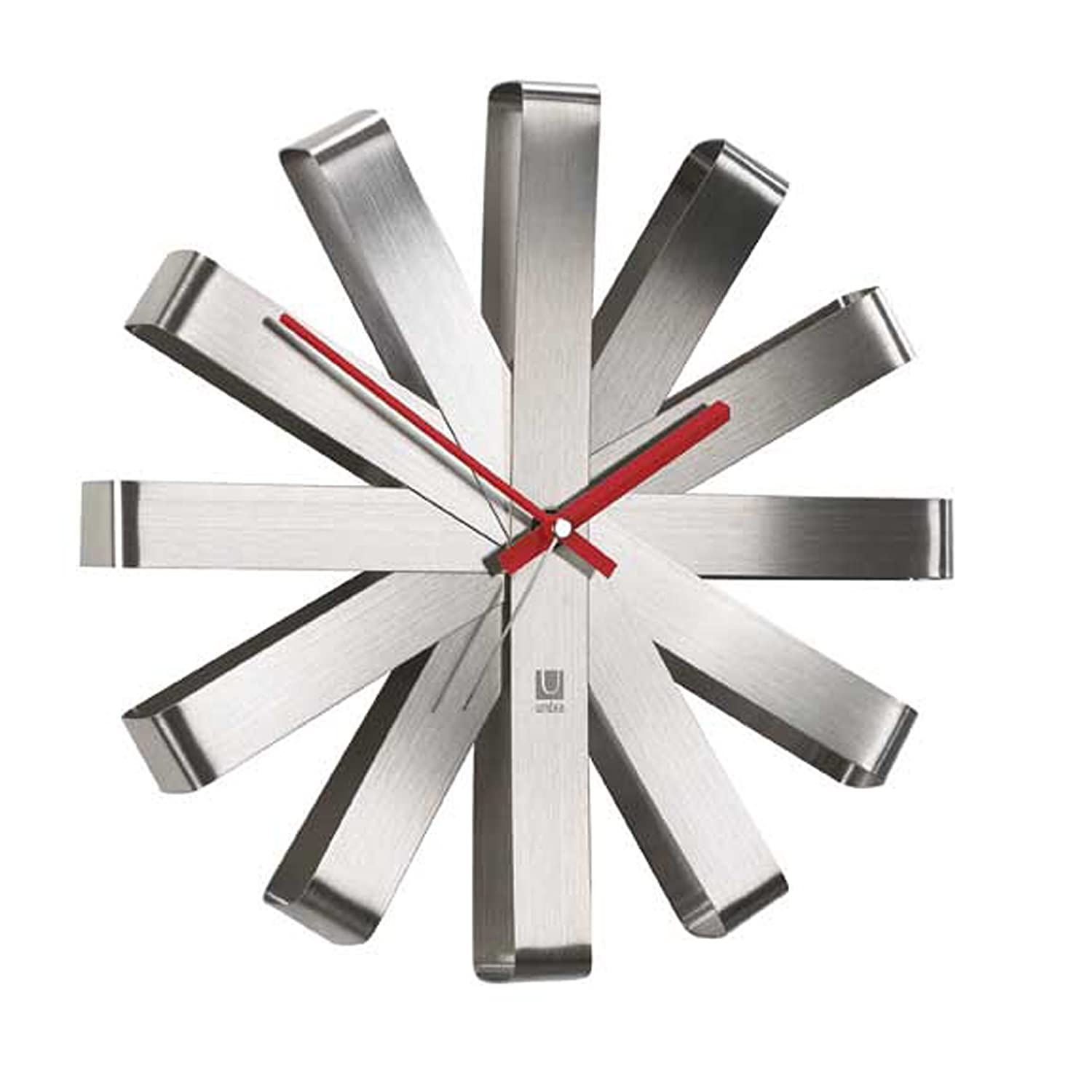 amazonca wall clocks home  kitchen - umbra ribbon stainless steel wall clock