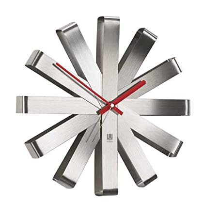 Umbra Ribbon Modern 12-inch Wall Clock, Battery Operated Quartz Movement, Silent Non Ticking Wall Clock, Stainless Steel