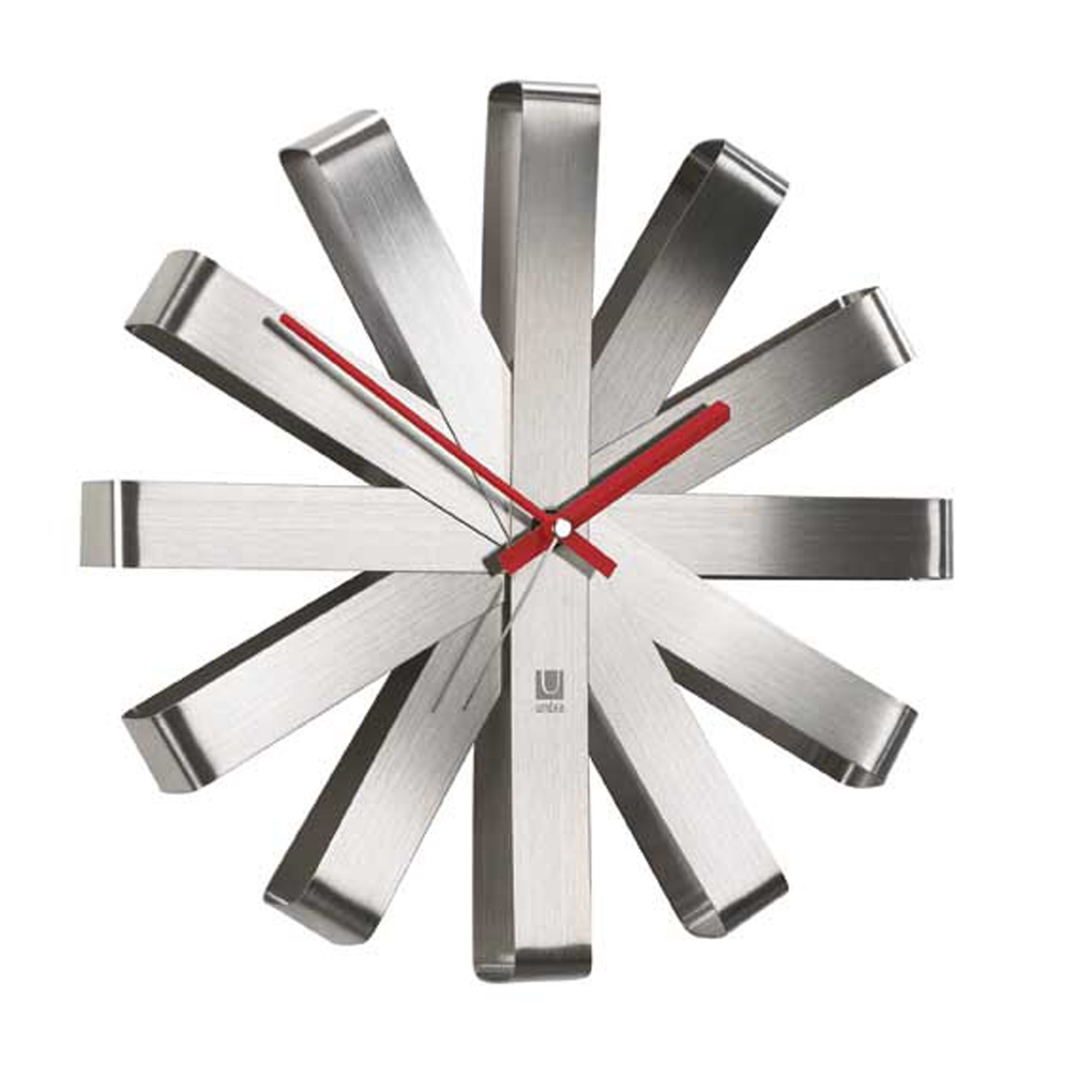 Umbra Ribbon Modern Wall Clock, Battery Operated Quartz Movement, Silent Non Ticking Wall Clocks, Stainless Steel