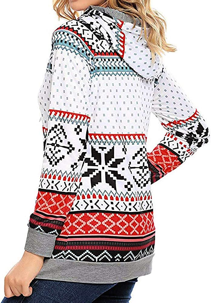 Wciaosmd Women Fashion Long Blouse Merry Christmas O-Neck Long Sleeve Tops Santa Claus Print Pullover Sweatshirt
