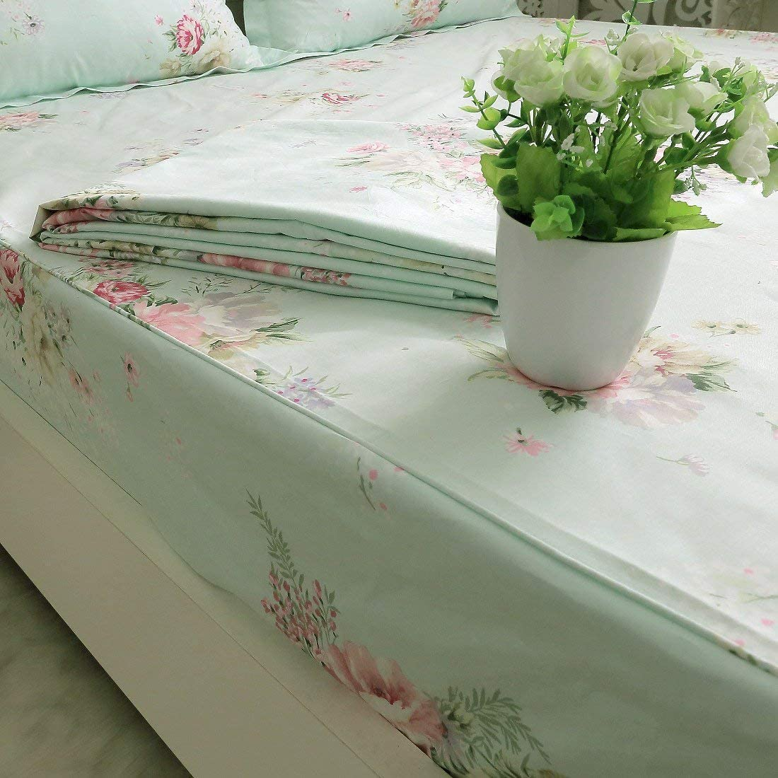 FADFAY Floral Fitted Sheet Only Queen Size 1-Piece Premium 100% Cotton French Countryside Green Floral Soft Hypoallergenic, Single Fitted Sheet Without Pillowcases