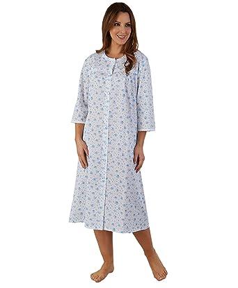 e55f65e4430 Ladies Floral Dressing Gown Button Through Lace Trim 3 4 Sleeve Polycotton  Bath Robe UK 20 22 (Blue)  Amazon.co.uk  Clothing