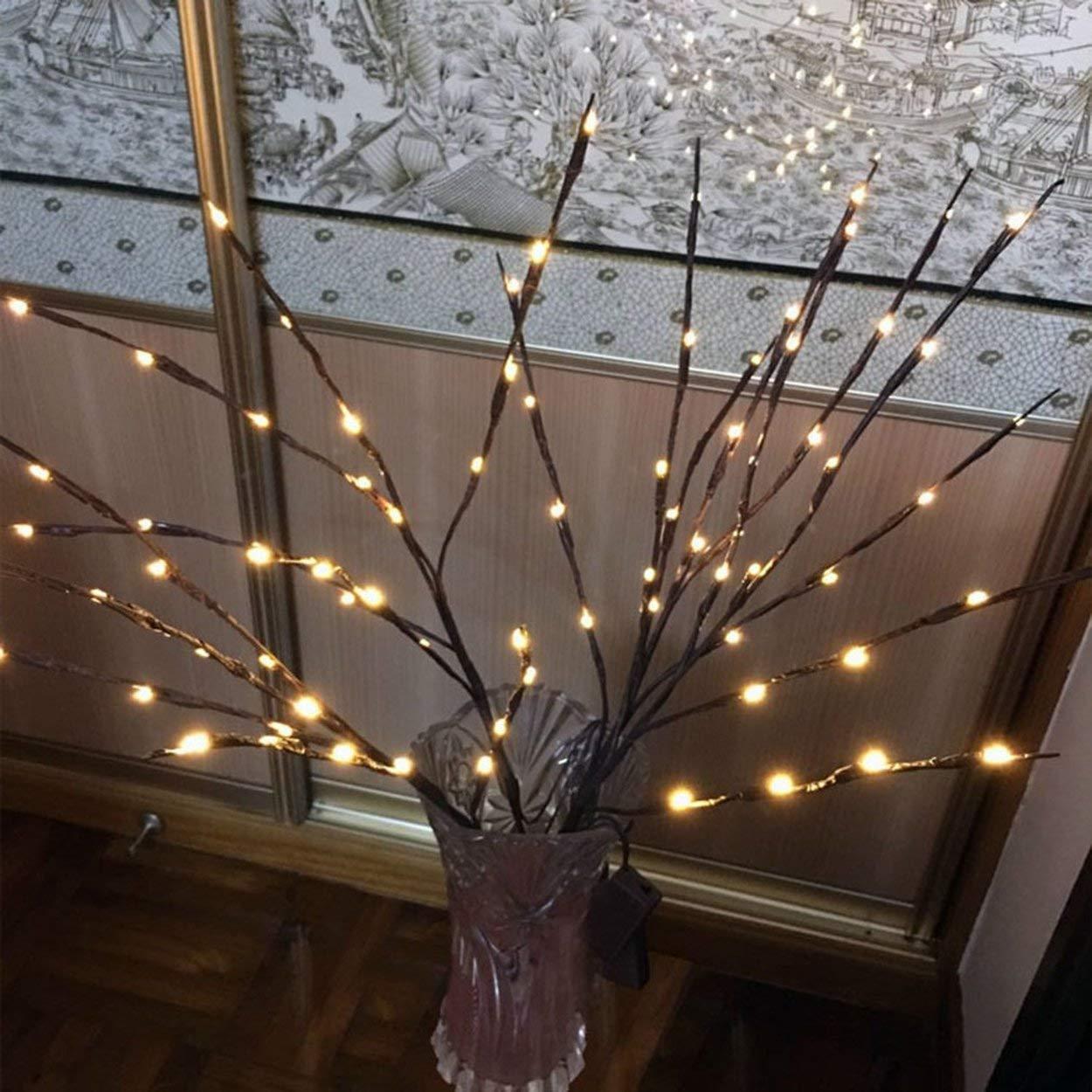 Lofenlli 20 branches led lumi/ère batterie aliment/é f/ée d/écoratif lampe nuit lumi/ère saule brindille branche allum/ée pour la d/écoration de la maison