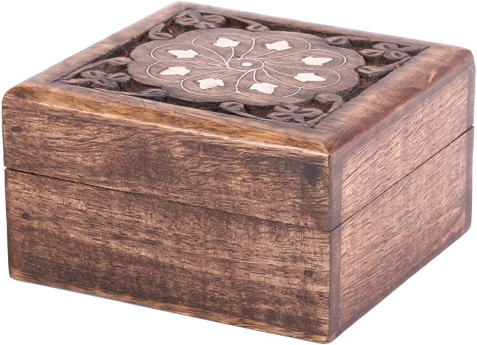 Rustic Wooden Trinket Ring Box Small Jewelry Keepsake Storage Organizer with Floral Hand Carvings