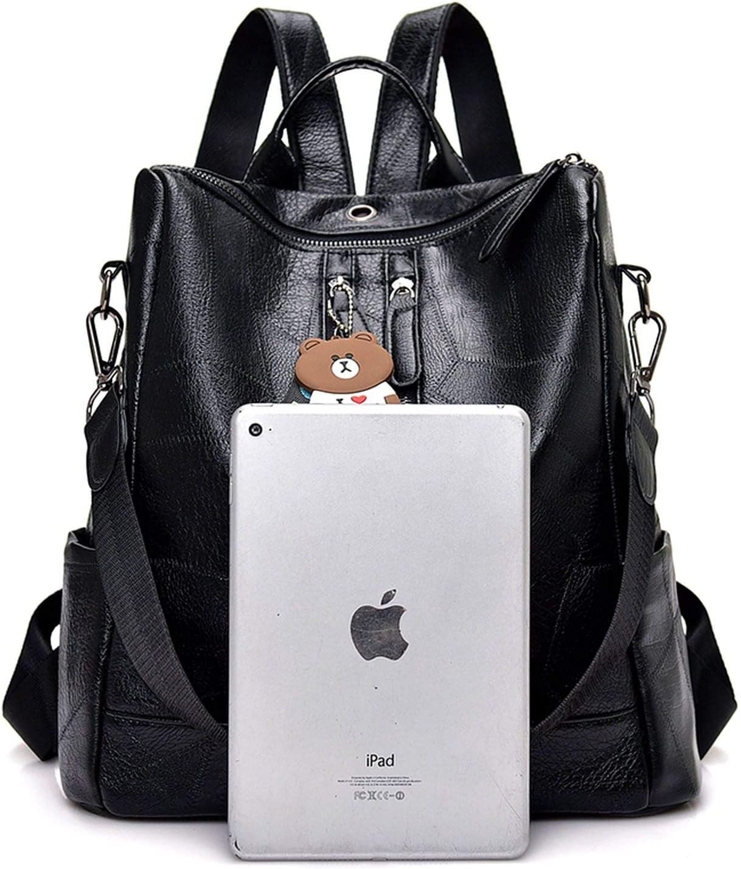 Fashion Women Backpack Leather Backpacks for Teenage School Shoulder,Brown