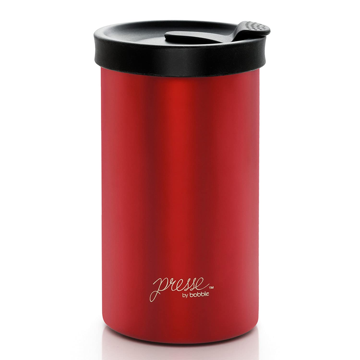 Presse by bobble Coffee & Tea Maker, Press Coffee Maker, Travel Tumbler, Stainless Steel, On the Go Brewer, Brew Press & Go, Portable Coffee Brewer and Tumbler in One, 13 oz., Black BTC000100O006BND