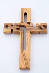 Hand Made Olive Wood Jesus Cross (6 Inch) - Wall Hanging, Wooden Cross Carved with Jesus Name, Blessing Wood Cross, Christians Wall Hanging Wooden Cross from The Holy Land – by Olive Wood Gifts Shop