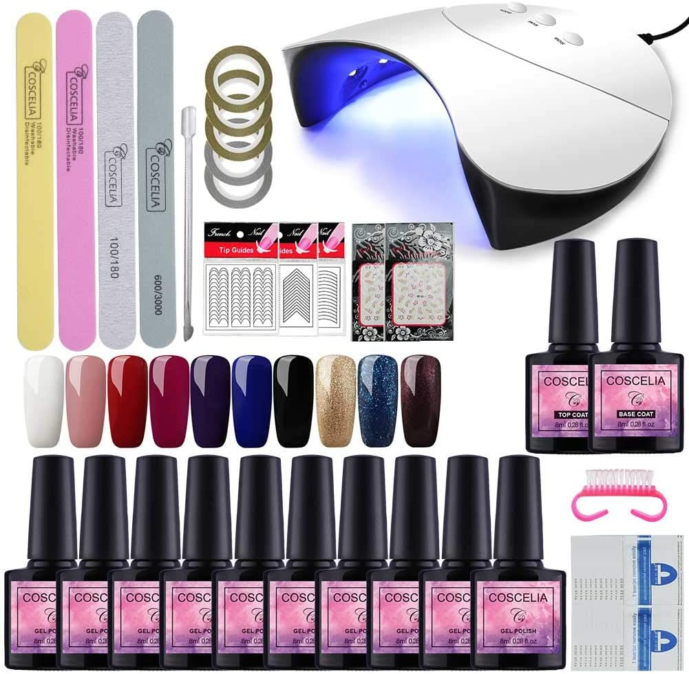 Secador de Uñas 36W Lámpara Uñas UV Lámpara de Luz LED Esmaltes Semipermanentes de Uñas en Gel 10pcs Kit de Esmaltes de Uñas 8ml Base Coat Top Coat Manicura Pedicura Kit