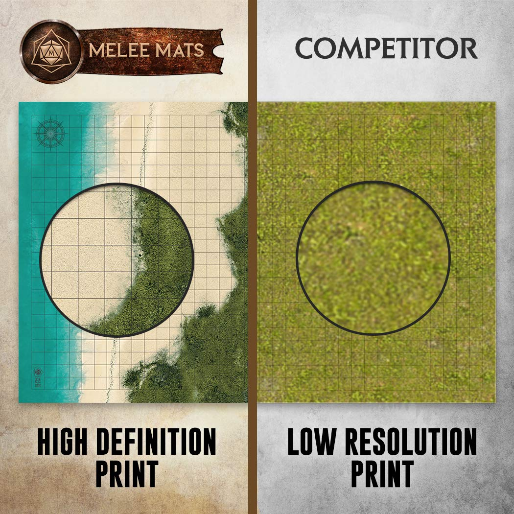 Battle Grid Game Mat - 2 PACK DOUBLE SIDED 36 x 24 - Portable DND RPG Table Top Role Playing Map - Dungeons and Dragons Starter Set - Tabletop Gaming Paper - Reusable Figure Board Game by Melee Mats (Image #4)