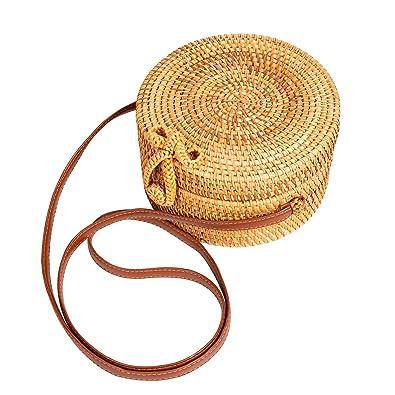 Amazon.com: Lefur bolsas de ratán para mujer redondas hechas ...