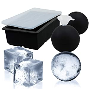Sphere Ice Mold(2-Pack) & Ice Cube Trays - Whiskey Ice Ball Maker,Food Grade and BPA Free,Makes 2.5 Inch Ice Balls and 2.0 Inch Ice Cube (Black)
