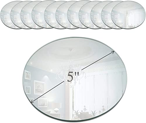 Light In The Dark 5 Inch Round Mirror Candle Plate with Beveled Edge Set of 12 – Small Round Mirrors for Centerpieces, Wall D cor, Crafts