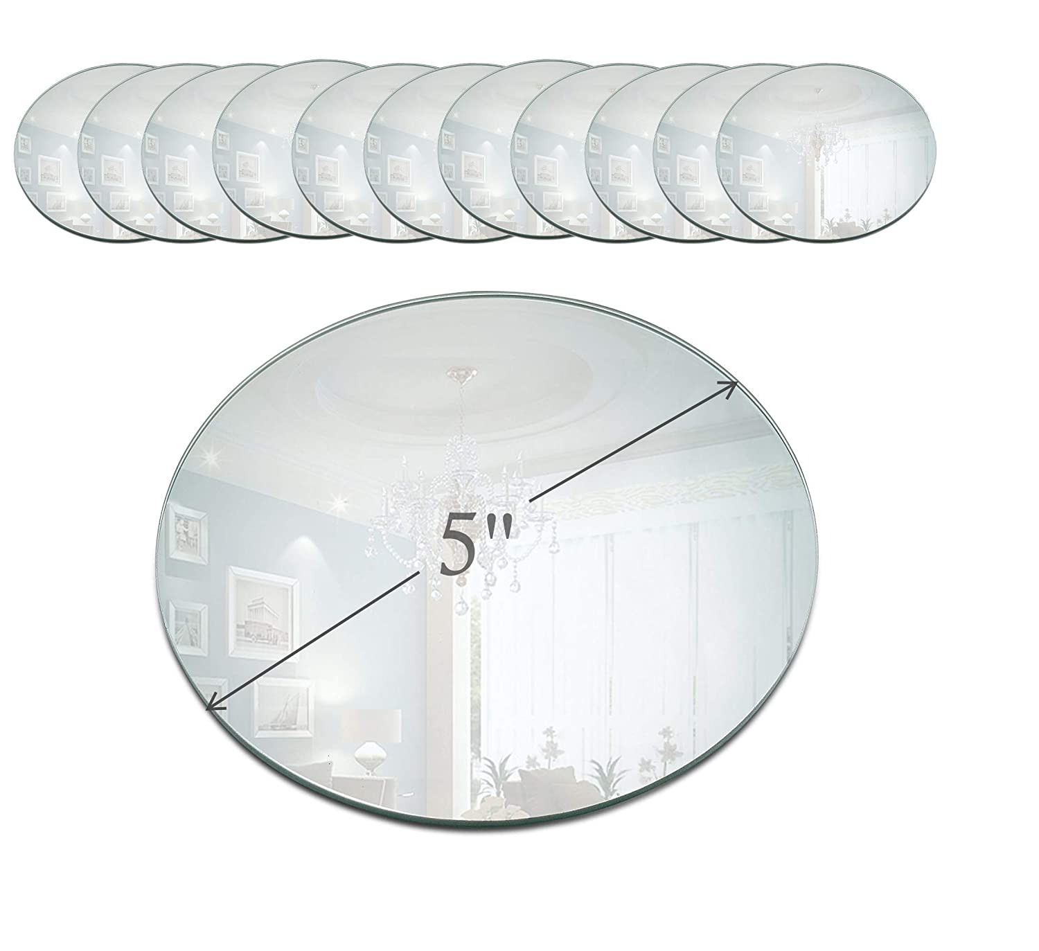 Light In the Dark 5 Inch Round Mirror Candle Plate with Beveled Edge Set of 12 - Small Round Mirrors for Centerpieces, Wall Décor, Crafts Wall Décor