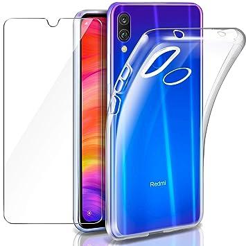 Funda Xiaomi Redmi Note 7 + Cristal Templado Xiaomi Redmi Note 7, Leathlux Transparente Redmi Note 7 TPU Silicona [Funda + Vidrio Templado] Ultra Fino ...