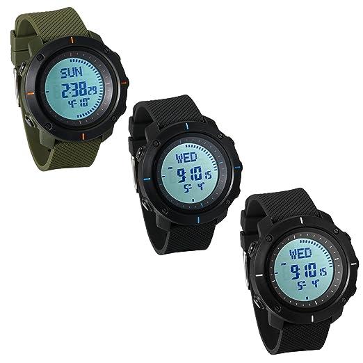 JewelryWe Reloj Deportivo Montañismo Reloj de Hombre Digital para Aire Libre A Prueba de Agua 5 ATM, Hora Mundial con Luz del Fondo, 3 Piezas: Amazon.es: ...