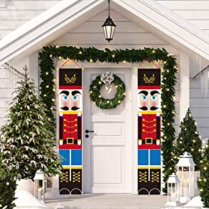 Nutcracker Christmas Decorations Christmas Nutcracker Banner 71 x 12 Inch Front Door Signs Soldier Model Porch Fireplace Garden Indoor Outdoor Home Holiday Party Decor