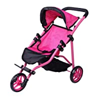 Precious Toys 0129A Jogger Hot Pink Doll Stroller, Black Foam Handles and Hot Pink Frame
