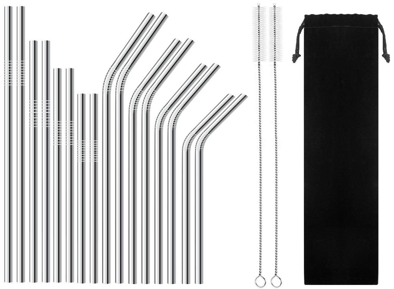 OctTN Stainless Steel Metal Straws Set of 16 for 20oz 30oz Tumbler, 6.3'' 7.1'' 8.5'' 10.5'' Reusable Drinking Straws, Long Short Straight Bent Compatible with 10 20 30 Ounce Yeti Ozark Trail Rtic