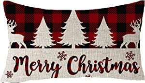 FELENIW Classic Retro Christmas Red Black Green Yellow Christmas Tree Snowflakes Plaid Buffalo Checkered Plaid Lattice Cotton Linen Decorative Throw Pillow Cover Cushion Case 12x20 inches