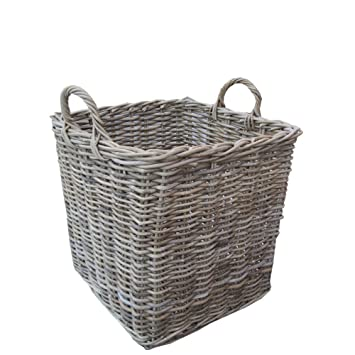 Grey u0026 Buff Rattan Square Wicker Log Basket Large Amazon.co.uk Kitchen u0026 Home  sc 1 st  Amazon UK & Grey u0026 Buff Rattan Square Wicker Log Basket Large: Amazon.co.uk ...