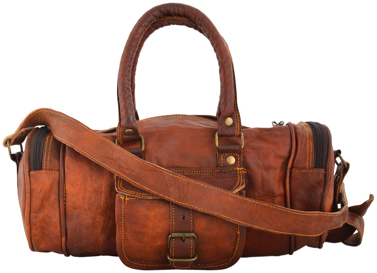 Thehandicraftworld vintage leather messenger brown goat hide luggage travel bag genuine briefcase