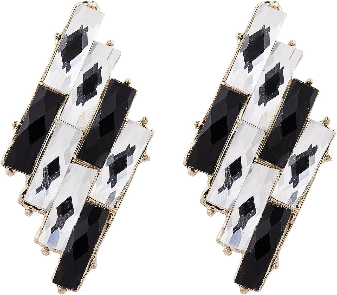 Pendientes de clip - chapado en oro aretes con piedras negras y claras - Barbara por Bello London