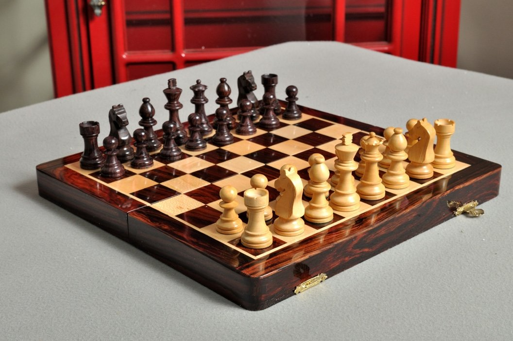 The House of Staunton Folding Wooden Magnetic Travel Chess Set - 12''