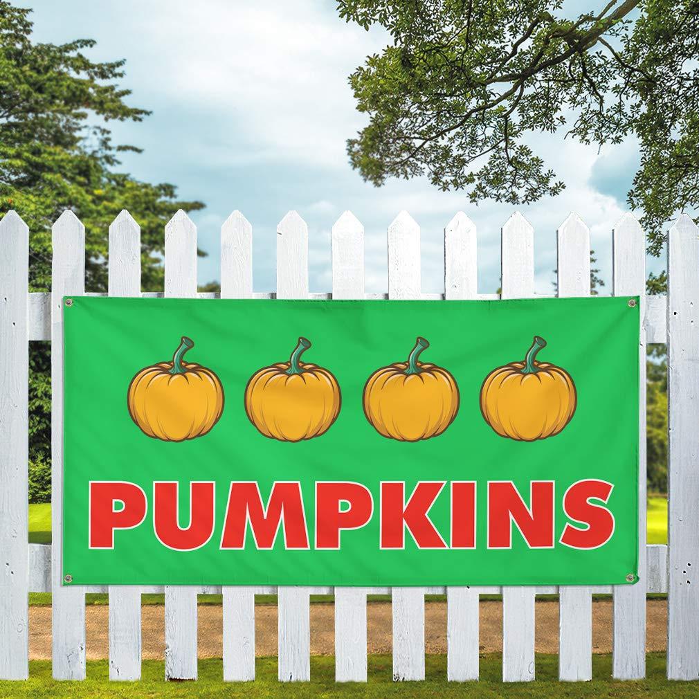 32inx80in 6 Grommets Set of 2 Multiple Sizes Available Vinyl Banner Sign Pumpkins #2 Business Pumpkin Outdoor Marketing Advertising Green