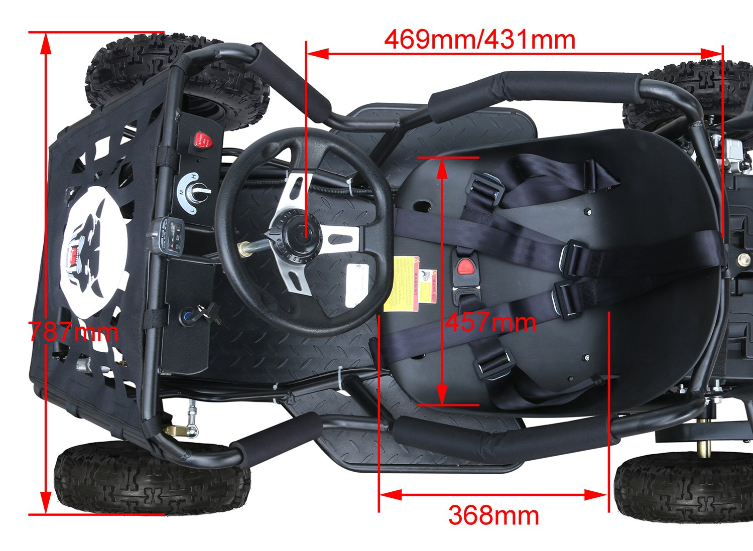 JCMOTO Electric Go Karts For Kids 4 Four Wheelers Off Road Tire 48v 1800w Black (Upgraded versions) by JCMOTO (Image #6)