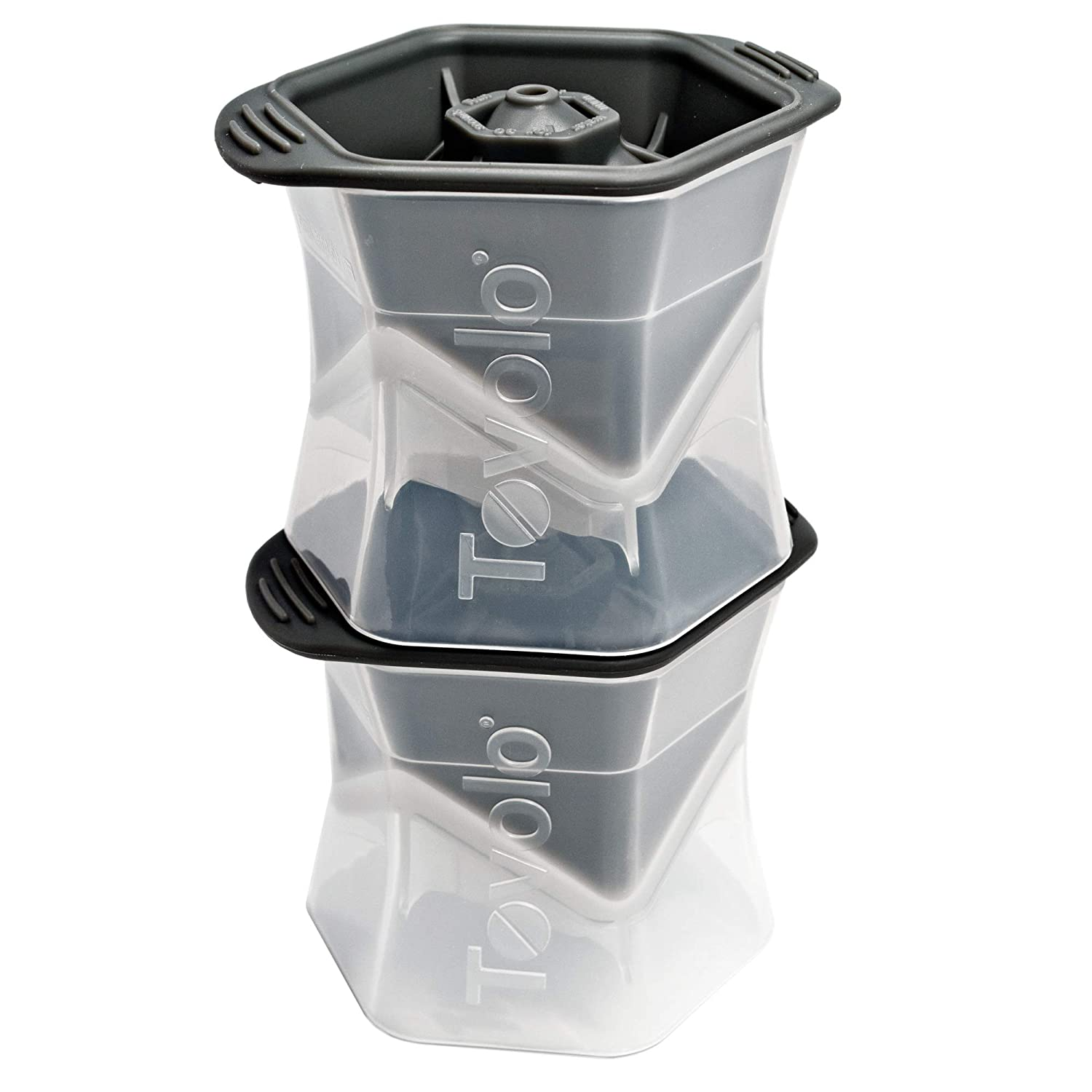 Tovolo Colossal Leak-Free, Anti-Tip, Silicone Cap, Cube Ice Mold, 2.25 Inch Cube - Set of 2