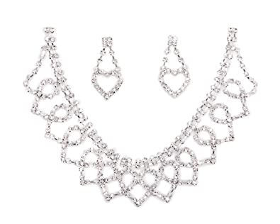 AllRight Charm Wedding Bridal Crystal Diamante Rhinestone Necklace & Earrings Jewelry Set Gvp2w