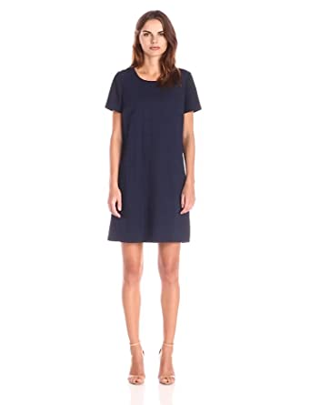 Lark & Ro Women's Short Sleeve Eyelet Shift Dress, Navy, X-Small