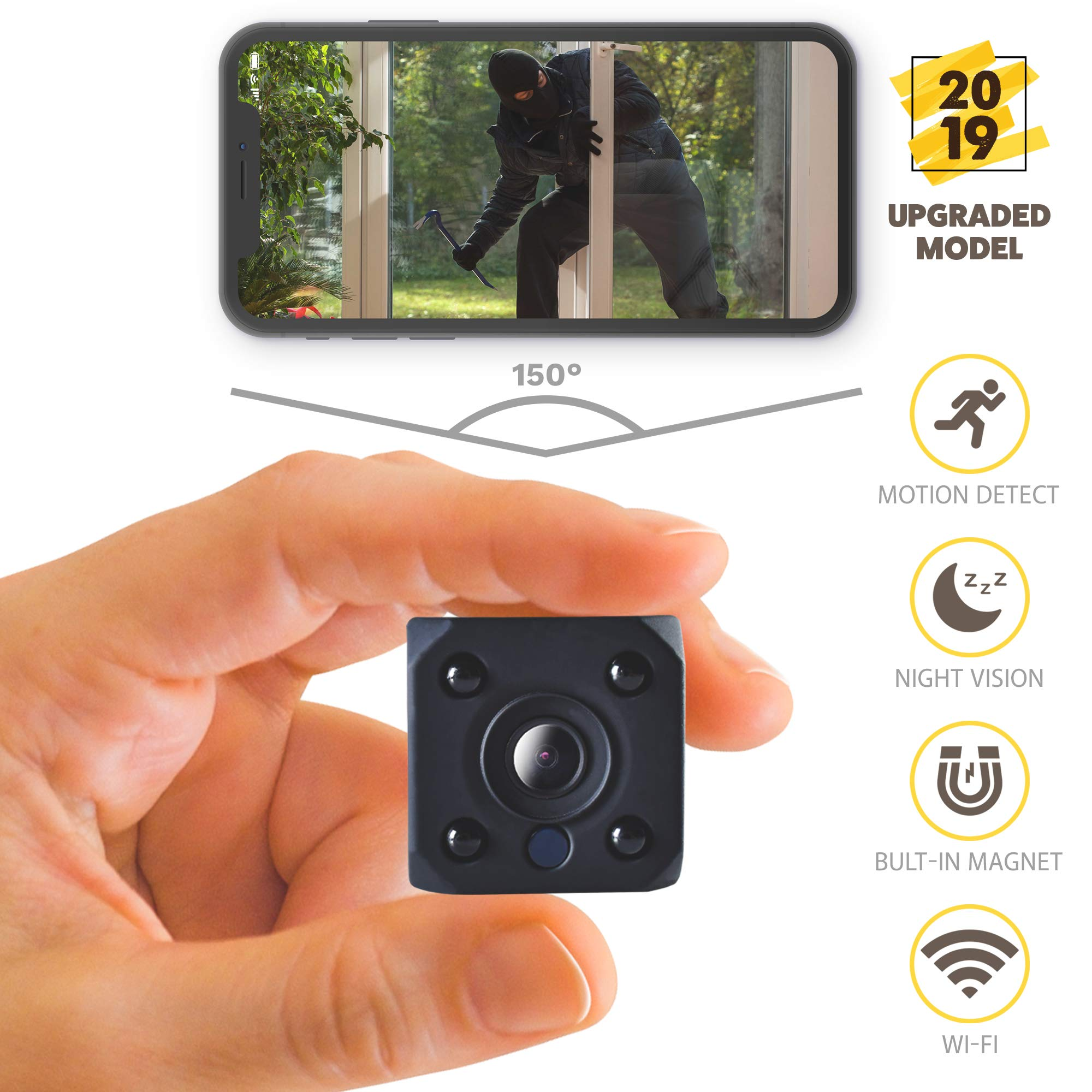 [2019 New] HD 1080P Mini Spy Camera Wireless Hidden Camera Small WiFi Home Security Cameras Night Vision - IP Nanny Cam Indoors Office Car Video Recorder Motion Activated Monitoring Recording Device