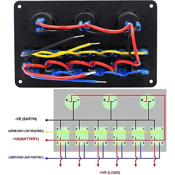 Samoleus 5 Pin 6 Gang Boot Marine LED Schalter Wippschalter ...