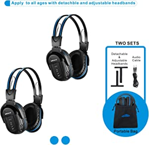 SIMOLIO 2 Pack of Wireless Car Headphones, Kid-Friendly Automotive IR Wireless Headphones, in Car Wireless Headsets with Travelling Bag, Universal Rear Entertainment System Infrared Headphones