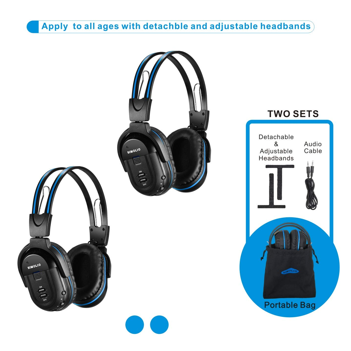 2 Pack of Wireless Car Headphones, Wireless Headphones for Kids, in Car Wireless Headphones with Travelling Bag for Universal Rear Entertainment System, 2 Channel Wireless Headphones by SIMOLIO