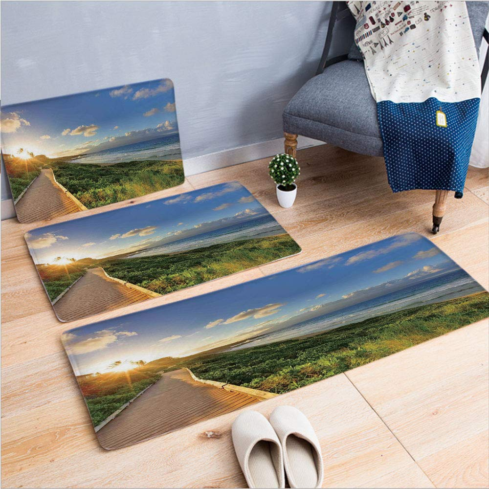 "3 Piece Non-Slip Doormat 3d print for Door mat living room kitchen absorbent kitchen mat,Walk over Grass at Sunset with Horizon Mystical,15.7""x23.6""by23.6""x35.4""by31.5""x47.2"",coffee table carpet windo"