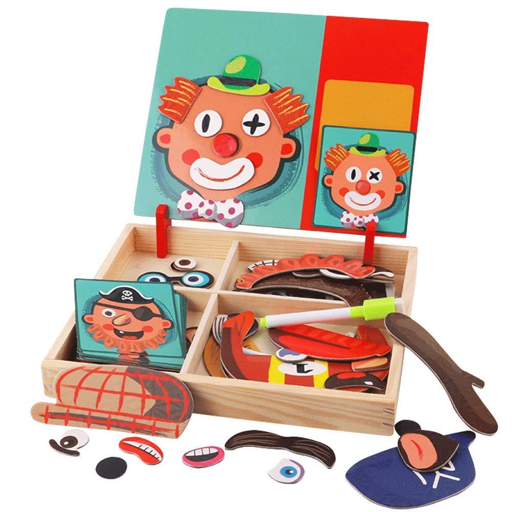 ZaiQu 子供用おもちゃ 木製磁気パズル 1-6歳の男の子と女の子の早期教育 誕生日ギフト 赤ちゃん教育玩具 多目的ペイントボード A Z165235 A  B07KPDLF9S