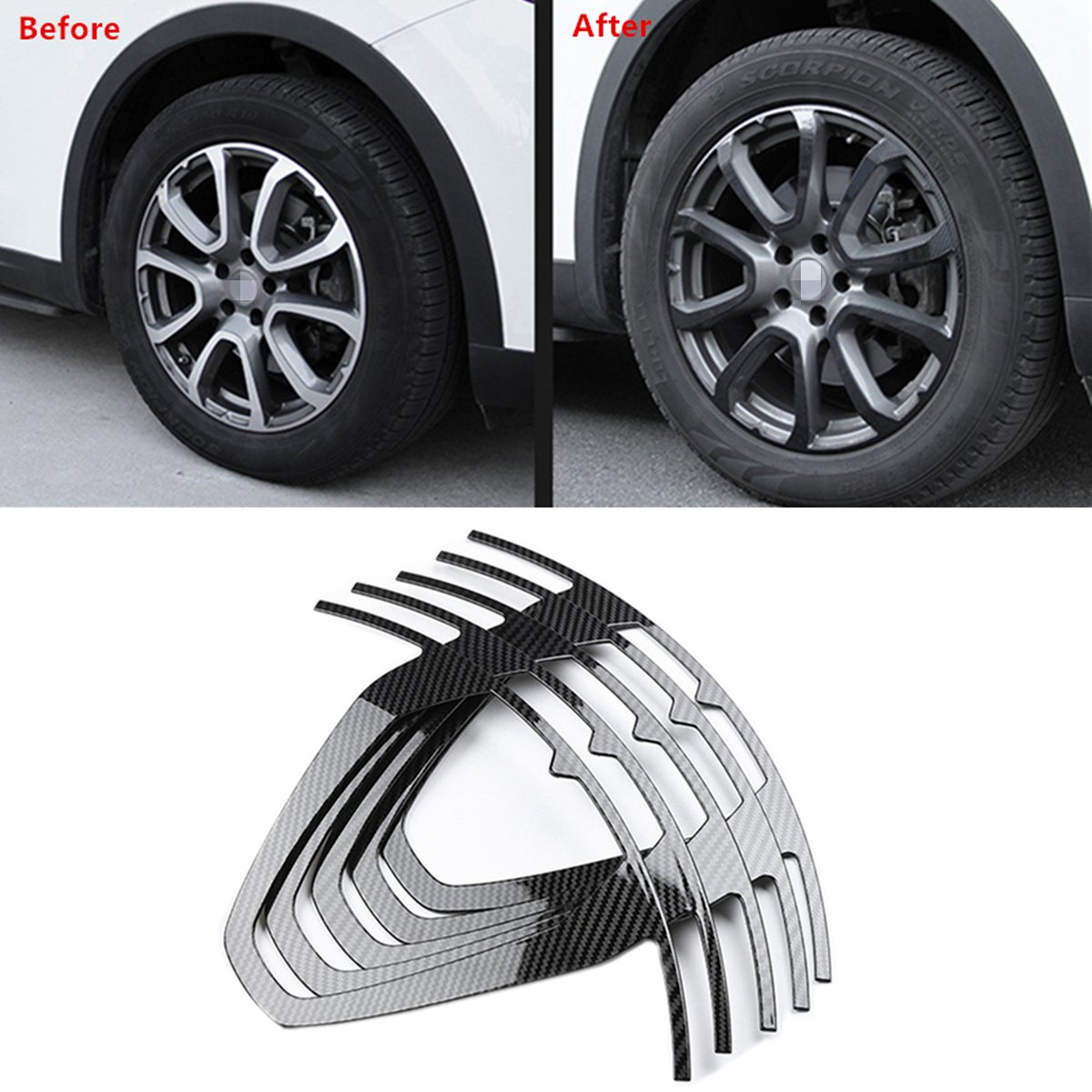 YOCTM Black Carbon Fiber Wheel Hub Trim Sticker Exterior Decoration For Maserati Levante 19 inch Wheel (5 Pack)