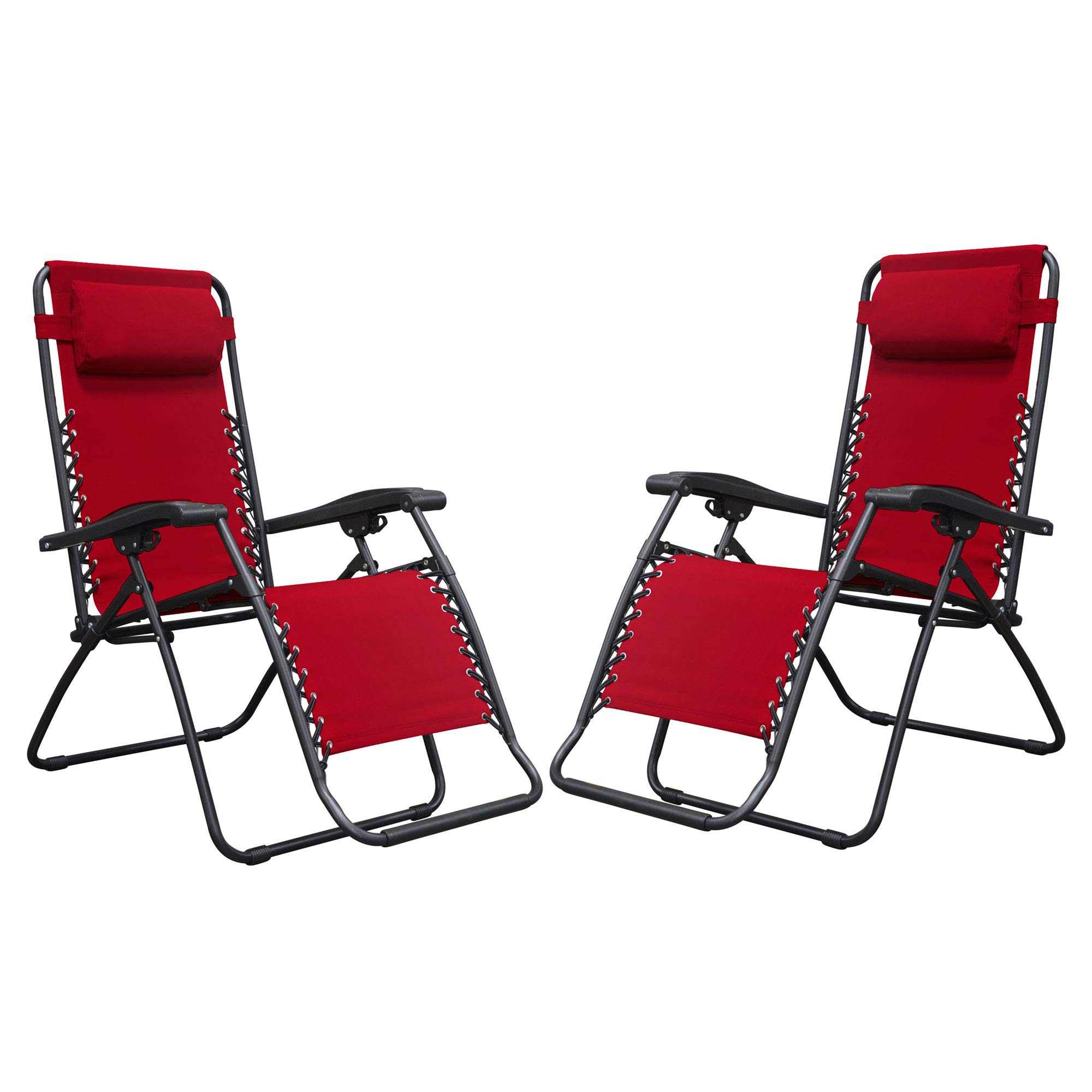 Caravan Canopy Sports Infinity Zero Gravity Steel Frame Patio Deck Chair, Red