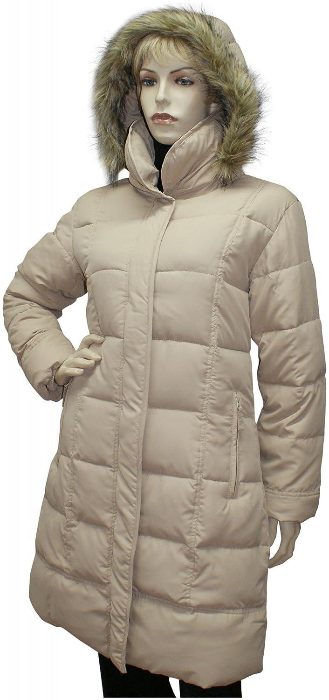 Mantel Steppmantel Steppjacke Long-Jacke Funktionsjacke Kapuze beige waschbar