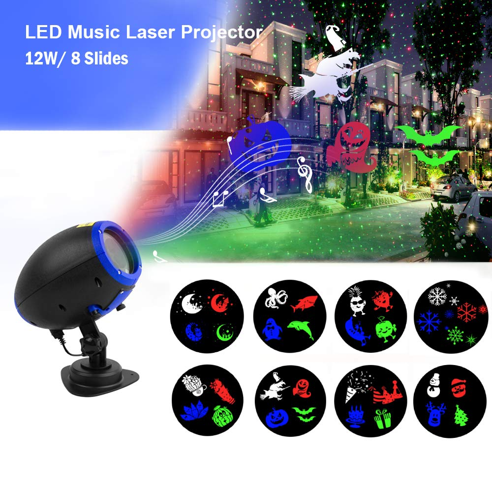 Music Christmas Lights Projector, 8 Slides Holiday Projector Lights Remote Control Multiple Working Modes for Halloween Christmas Indoor Outdoor Home Party Garden Bar Decorations