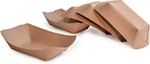 PaperMi Brown Paper Food Tray - 1lb (250pcs) - Disposable Kraft Hot Dog Tray, Paper Food Trays for Picnics, Carnivals, Camping - Food Serving Tray Holds Hot and Cold Food- USA Made