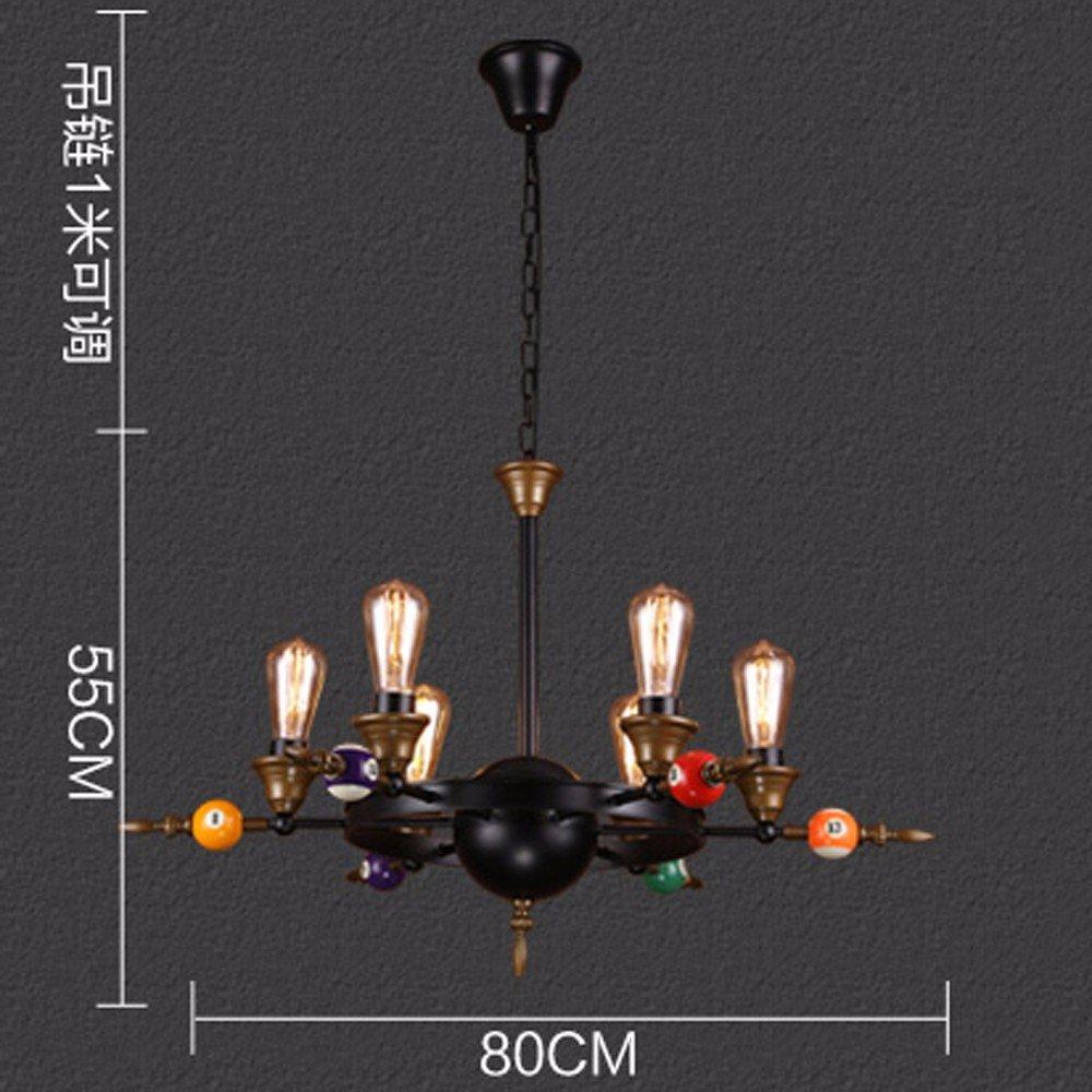 Industrial wind retro billiard lamp chandelier creative clothing store game room coffee bar table pool decoration lights 6 head