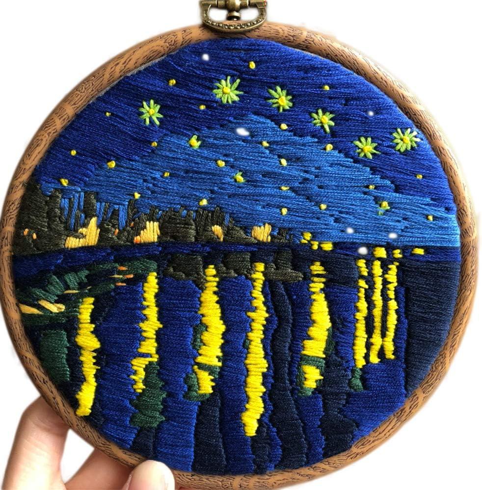 SoonCat Stickset f/ür Anf/änger DIY Nadelspitzen-Sets f/ür Erwachsene f/ür Starter-Van Gogh Roter Weinberg Kreuzstich-Set ber/ühmte Malerei