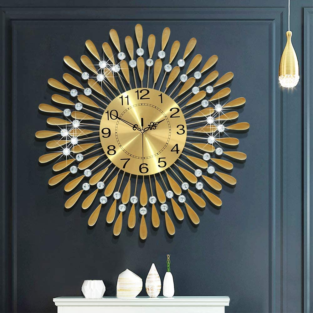 Fleble 23.6 inch Big Metal Wall Clock Gold Dial with Arabic,Non-Ticking Silent Clocks,Vintage Style Round Luxury Home Decorative for Villa, Living Room
