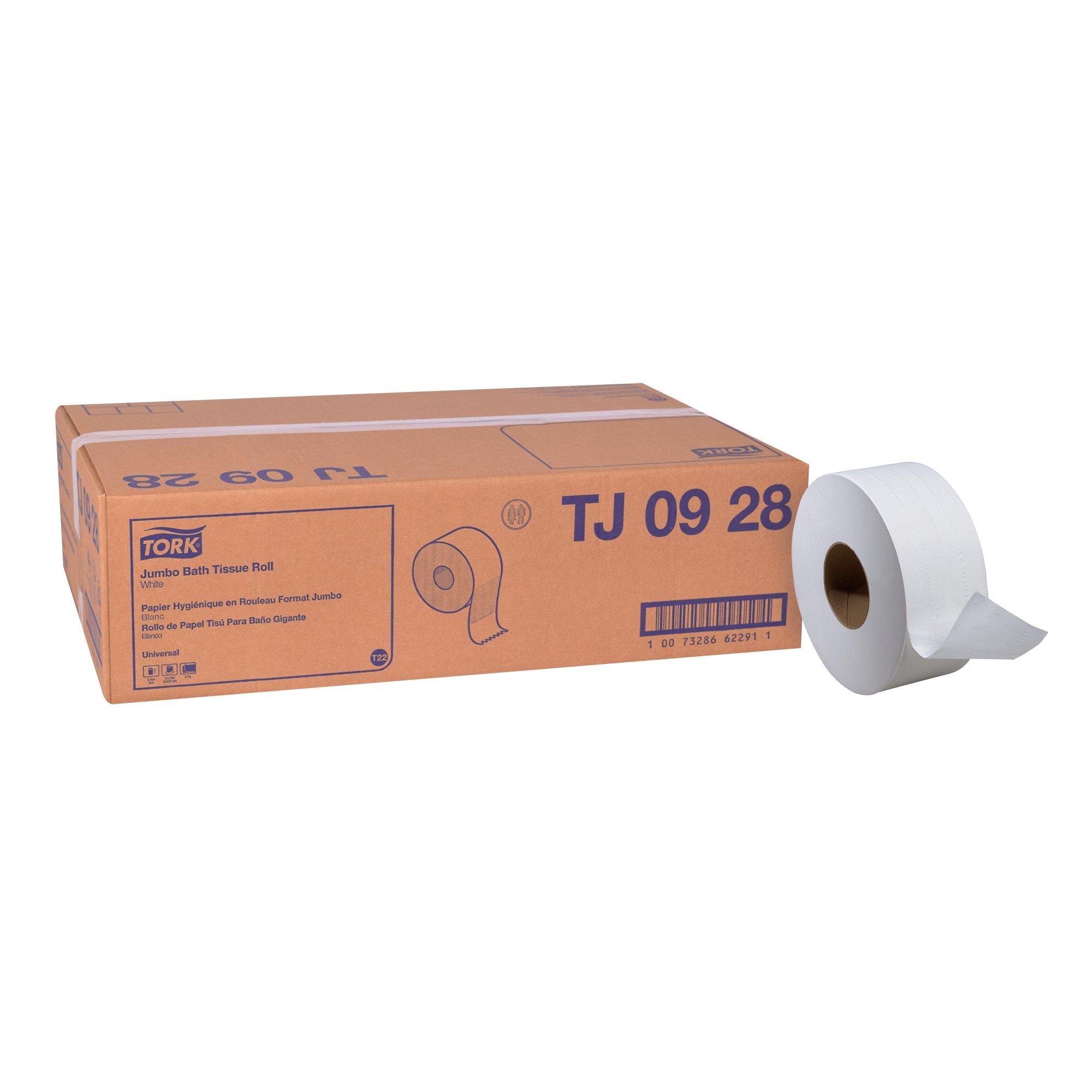 Tork Universal TJ0928 Jumbo Bath Tissue Roll, 2-Ply, 8.8'' Dia, 3.55'' Width x 750' Length, White (Case of 12 Rolls, 750 Per Roll, 9,000 Feet)