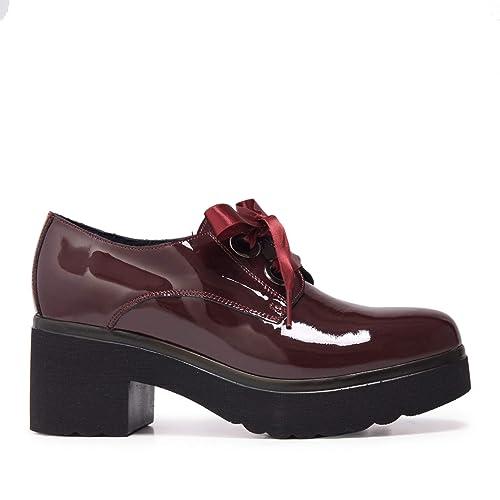 4a912cfc780 María Barceló Zapato Blucher de Charol con Tacon y Lazo Mujer Burdeos   Amazon.es  Zapatos y complementos