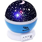 Best Baby Night Sky Light Projector For Kids - 360 Degree Rotation LED Lamp With USB Cable Plug In - Romantic Moon And Star Ceiling Lights Decor - Perfect Gift For Children And Adults.