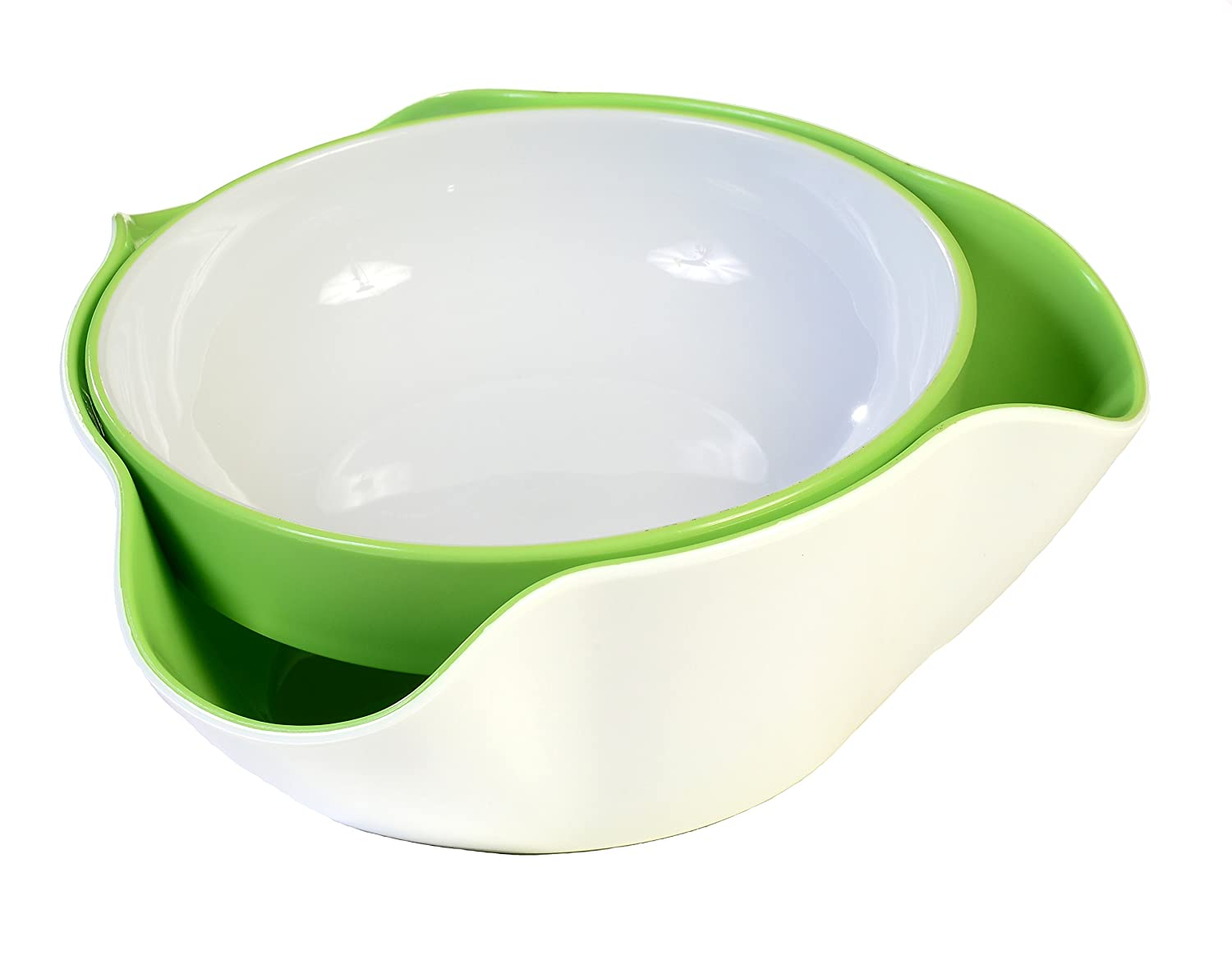White and Green Double Dish Serving Bowl for Pistachios, Peanuts, Edamame, Cherries, Nuts, Fruits and Candy